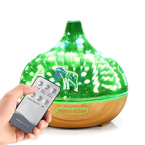 Aroma-diffuser voor etherische olie, 3D-glas, sterrenhemel, aroma-olie, diffuser, koude nevel, luchtbevochtiger, met 7 kleurwisselende leds, 400 ml, voor thuis of op kantoor, yoga, baby
