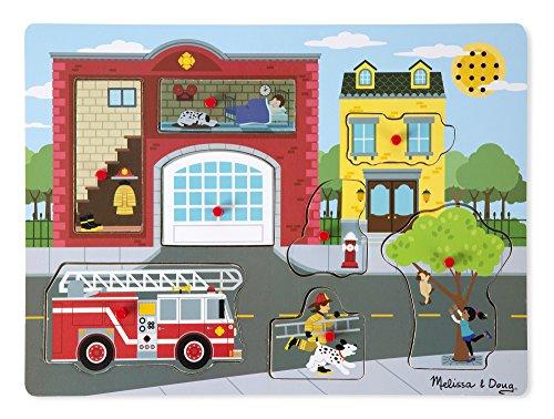 Melissa & Doug  Puzzle sonore caserne de pompiers  Bois   2+   Cadeau pour garçon ou fille
