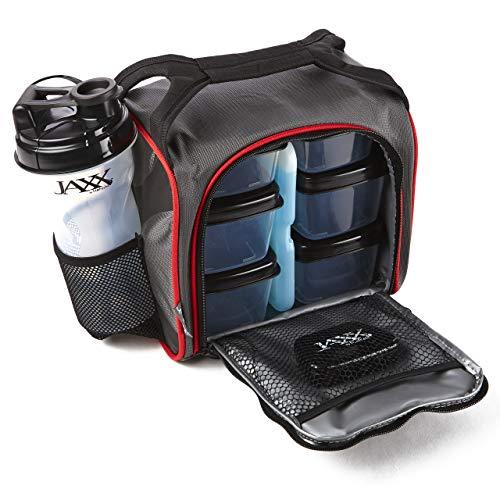 Jaxx FitPak con Juego de Contenedores con Control de Porciones, Bolsa de Hielo Reusable y Botella Mezcladora, Negro/Rojo