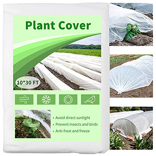 Mhonniwa Plant Covers Freeze Protection Floating Row Cover 10X30 FT 1.0 oz/yd² Non-Woven Frost...