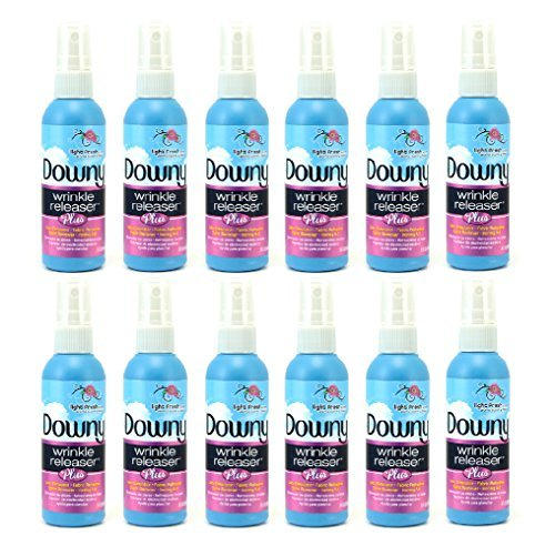Downy Wrinkle Release Spray Plus, Static Remover, Odor Eliminator, Steamer for Clothes Accessory, Fabric Refresher and Ironing Aid, Light Fresh Scent, 3 Fluid Ounce (Pack Of 12 Travel Bottles)