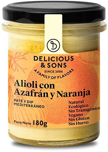 Delicious & Sons Alioli con Azafrán y Naranja - Ecológico - Sin Huevo - Sin Transgénicos - Sin Gluten - Vegano - Sin Azúcares Añadidos - Apto para dietas Paleo y Keto - 180g