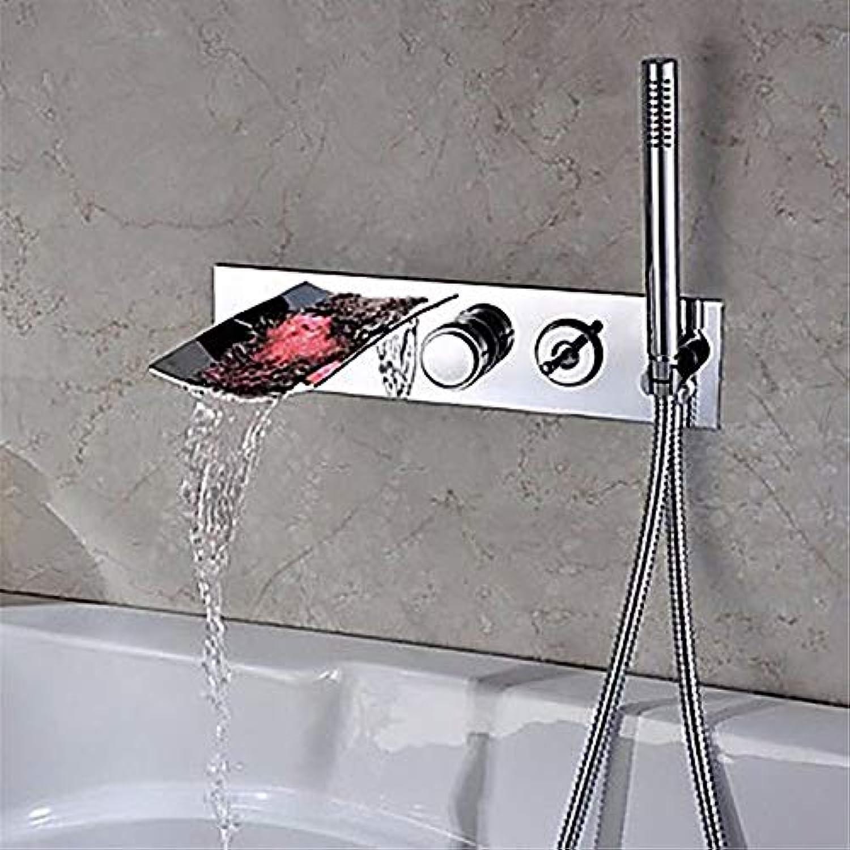 WangLei Badarmaturen Thermostatische Dusche Set Badewanne & Dusche Systeme LED Wasserfall Outlet Warmes Und Kaltes Wasser Keramik Ventil Bohrung DREI Doppelgriff Duscharmaturen