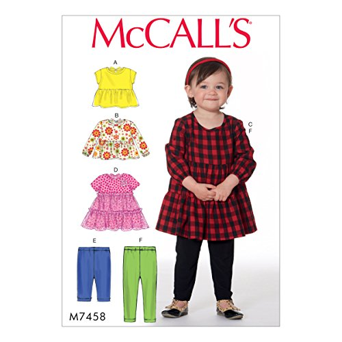 Mccall's Patronen 7458 CAA, Peuters Tops, Jurken en Leggings, Maten 1/2-4, Tissue, Multi-Colour, 17 x 0.5 x 0.07 cm