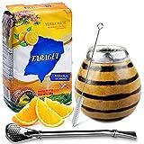 Juego de té mate: Yerba Mate Taragui Naranja 0,5 kg | Vaso mate de calabaza (tigre), hecho a mano – Kalebasse | Pajita mate de acero inoxidable – Bombilla | Cepillo de limpieza