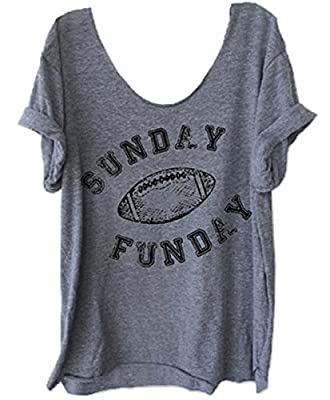 Women's Sunday Funday Football Letters Print Funny T-Shirt Casual Tees Blouse