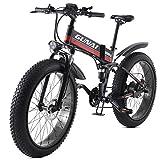GUNAI Bicicleta eléctrica de 26 Pulgadas Fat Tire 1000W 48V Ebike 21 Speed Snow MTB Bicicleta eléctrica Plegable para Hombre Mujer
