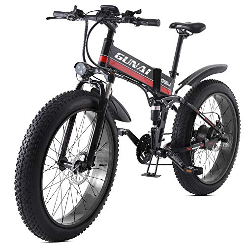 GUNAI Elektrisches Fahrrad 26 Zoll Faltendes Fettes Reifen Schnee Fahrrad 12Ah Li-Batterie 21 Geschwindigkeits-Strand-Kreuzer-volle Suspendierung Gebirgse Fahrrad mit Rücksitz