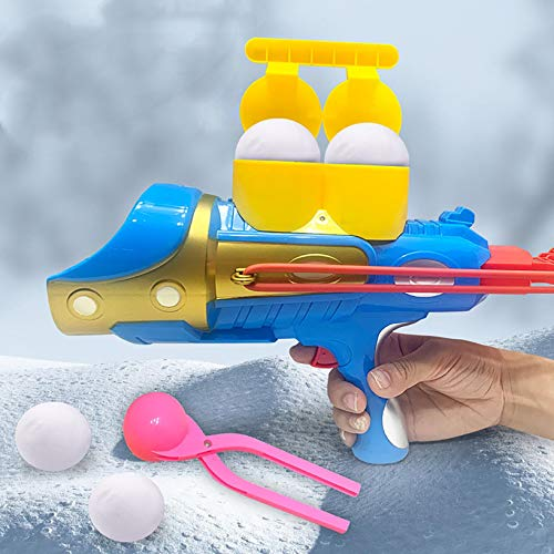 Snowball Blaster Gun,Snowball Launcher with snowball maker mold,Snow Ball Shooter,Outdoor Winter Snow Fight Game Toys for Kids and Adults (A)