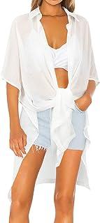 MOSHENGQI Women's Beach Swimsuit Cover Up Shirt Sleeve Chiffon Bikini Covers Beachwear