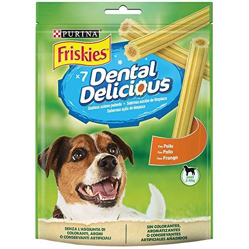 Purina Friskies Dental Delicious Snack Igiene Orale e Dentale Gusto Pollo, Taglia, 6 Confezioni da 110 g Ciascuna