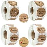 Rollo Pegatinas Love Etiqueta Kraft Etiqueta Adhesiva Pegatinas Hechas a Mano para Tarjetas de FelicitacióN Bolsas de Dulces Embalaje de Regalo Etiqueta de Sello Pegatinas de Bricolaje 2000 Piezas