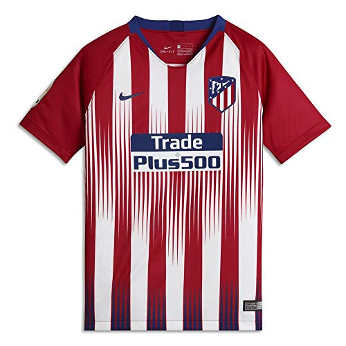 Nike Atlético de Madrid Breathe Stadium Jersey Short-Sleeve Home, T-Shirt Unisex Bambini, Sport Red/White/Deep Royal Blue, M
