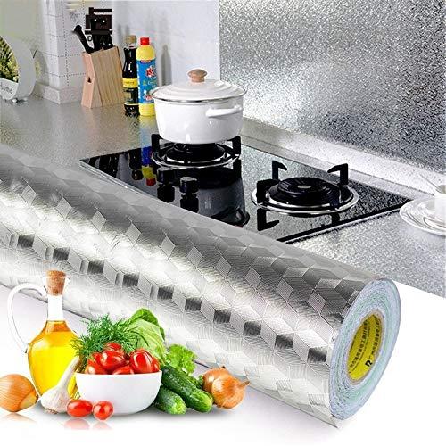 Boutique de Hanks Auto-adhésif Croppable Mur Papier Peint Sticker Cuisine Mur Poêle Aluminium Foil Huile épreuve Autocollants Anti-encrassement à Haute température Donzy1 (Color : Mirror Tinfoil)
