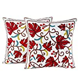 Juego de 2 fundas de cojín de 45 x 45 cm, de algodón, con bordados en diferentes diseños, resistentes, con cremallera estable, decoración para el hogar, para sofá, salón, dormitorio (hojas rojas)