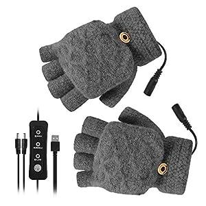 iFCOW - Guantes calefactores USB unisex para hombre, mujer, invierno, con 3 ajustes de temperatura