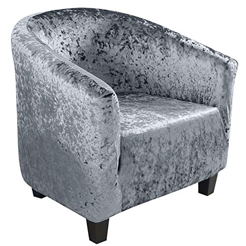 SearchI Velvet Tub Chair Covers Stretch Armchair Slipcovers Non-slip Removable Washable Sofa Covers 1 Seater for Dining Room Living Room Office Reception,Matte Blue&Grey