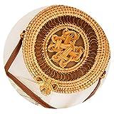 Round Straw Beach Bag Vintage Handmade Woven Shoulder Bag Raffia circle Rattan bags,zhongguojiequan20x8