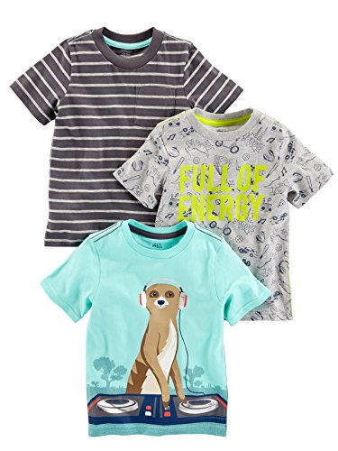 Simple Joys by Carter's Baby Boys' Toddler 3-Pack Graphic Tees, Energy,Stripe,Meercat, 3T