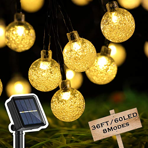 HOME COMPOSER Solar Christmas Lights, 36 FT 60 LED String Lights Outdoor, Fairy Crystal Ball Waterproof, 8 Modes Sloar Powered, Enbrighten Café Patio Outdoor for Wedding Party,New Year (Warm White)