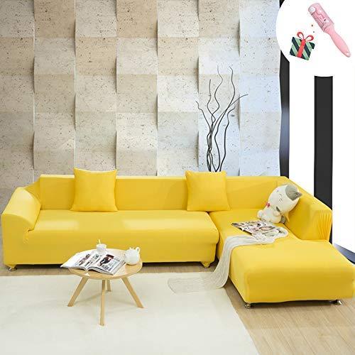 Elastisch Sofa Überwürfe Sofabezug, Morbuy Ecksofa L Form Stretch Antirutsch Armlehnen Einfarbig Sofahusse Sofa Abdeckung Hussen für Sofa Couchbezug Sesselbezug (3 Sitzer,Gelb)