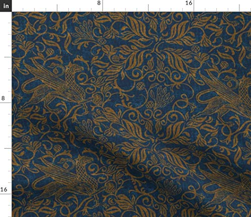 Spoonflower Fabric - Copper Navy Celtic Medieval Blue Ornate Swirl Printed on Cotton Poplin Fabric by The Yard - Sewing Shirting Quilting Dresses Apparel Crafts
