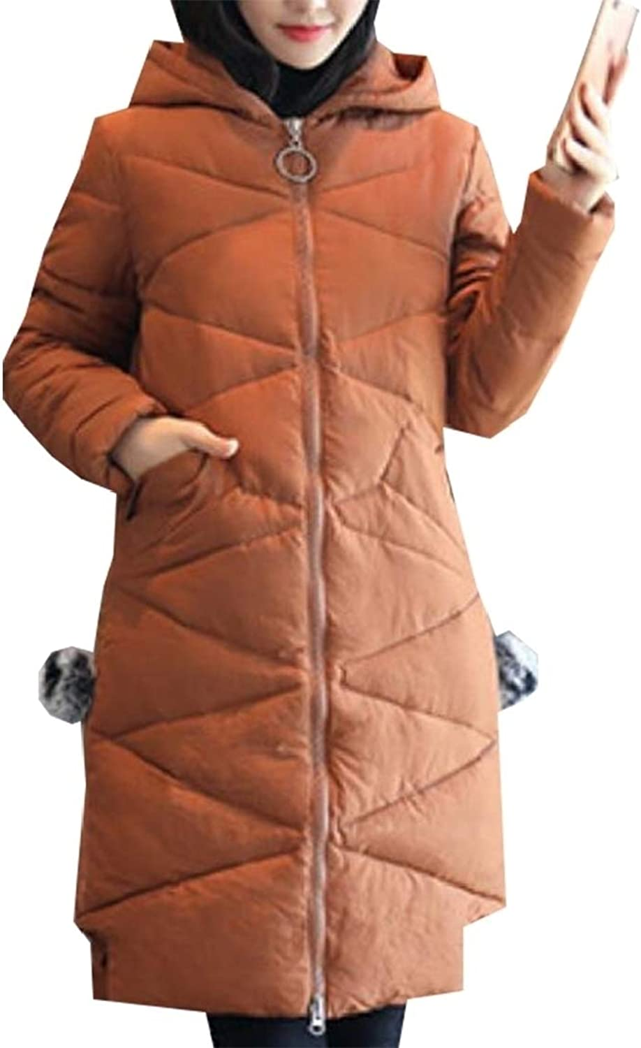 Emastor Women's Winter Solid color Thicken Plus Size Down Jacket Hooded Coat
