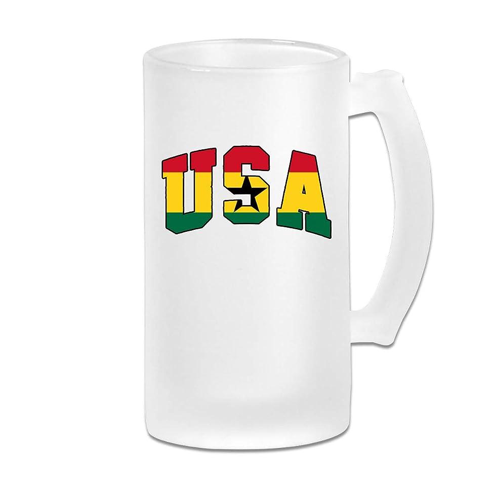 Ghana Flag USA Beer Mugs Tumbler With Handle, 16 OZ / 500 ML Large Pub Beer Glass For Freezer