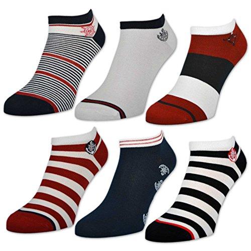 sockenkauf24 6 oder 12 Paar Damen Sneaker Socken Maritim Damensocken Ringel Punkte Muster - 36737 (35-38, 6 Paar | Farbmix)