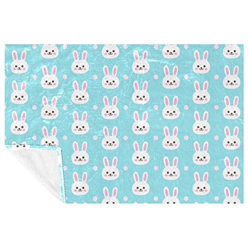 EZIOLY Bunny Blue Cozy Throw Blanket Shawl Leg-Cover Super Fluffy Soft Warm Microfiber Plush Blankets for Bed, Couch, Sofa, Outdoor, Travel, Picnic, Camping(59'x39.3')