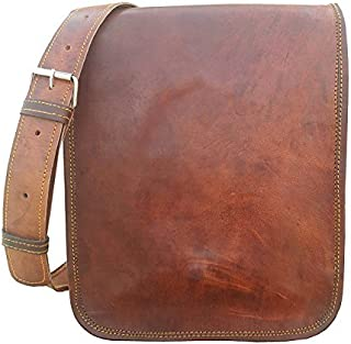 TUZECH Vintage Full Flap Genuine Leather Crossover Messenger Satchel Leather Bag - Fits Laptop Upto (11 Inches)