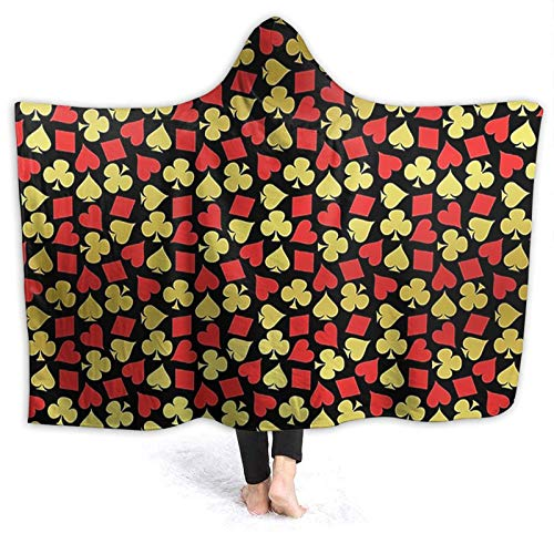OLGCZM Playing Card Romance Casino Poker Pattern Super Soft Light Weight Throw Wearable Hooded Blanket Sherpa Fleece Summer Quilt for Bed Couch Sofa
