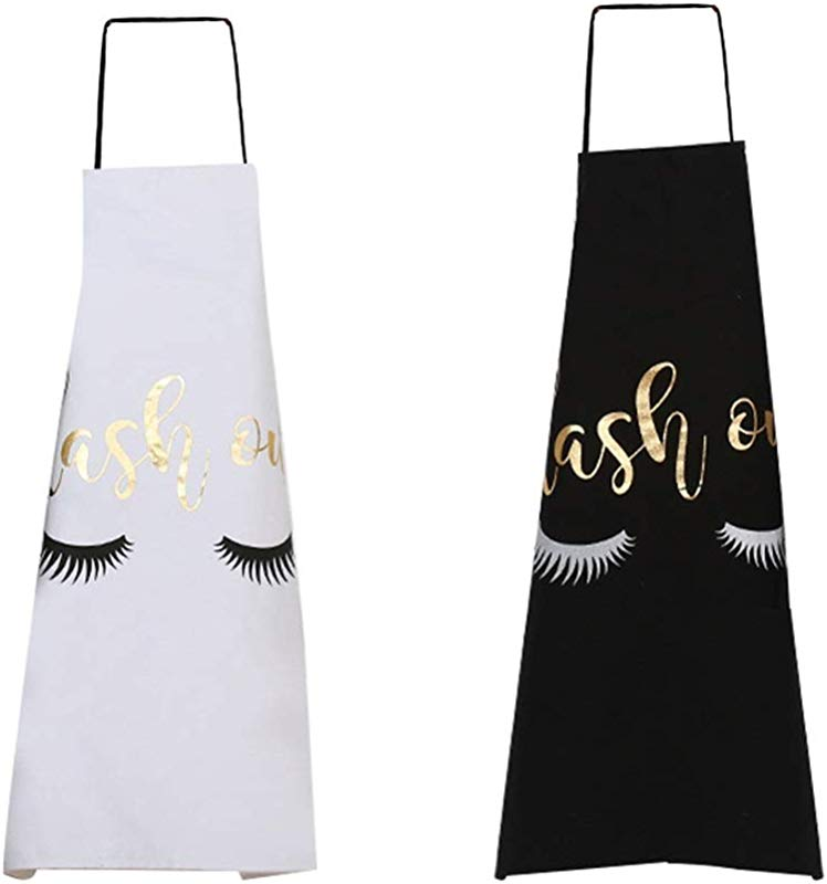Bronzing Eyelash Aprons For Women CheeseandU 2Pcs Cute Gold Lash Out With Eyelash Printed Aprons Cotton Adult Bibs Home Cooking Baking Coffee Shop Cleaning Aprons Kitchen Accessory Black White