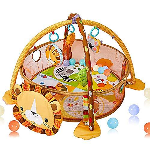 Baby Play Mat - 3 en 1 Baby Play Gym con 4 juguetes colgantes y 30 bolas - Educational Baby Activity Mat & Ball Pit- Baby Playmat para la Tiempo de la Tummy - Regalo para 0-3-6-9-24 meses Baby Boys an