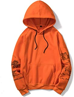 Dqzhmsb Hooded Sweatshirt Casual Sweater Men (Color : Orange, Size : M)