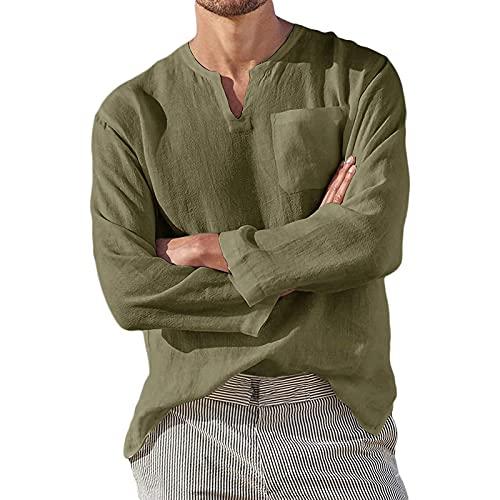2021 Camisa Hombre otoño lino Manga Larga Color sólido camiseta Moda Casual Suelto T-shirt Blusas camisas Camiseta Cuello en v suave básica Cómodo Primavera Verano camiseta Top