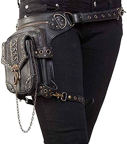 Bolso de Hombro, Cuero de PU Bandolera Paquetes De Cintura Pierna Bolsas táctico Pierna Banana Macutos de Senderismo Negro Waist Leg Bag