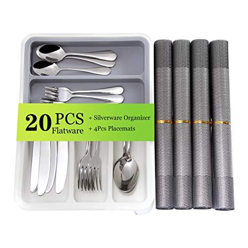 DECORUS Besteck set 20-teiliges Edelstahlbesteckset Service für 4 Personen, einschließlich Messerlöffel mit Besteckkasten Besteckhalter und 4 Platzsets Restaurant Bestecksets