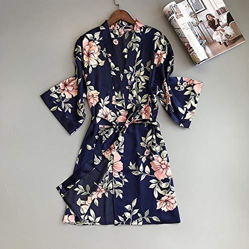 Handaxian Fresh Floral Silk Satin Silk Bademantel Damen Kimono Robe Robe Mode Delicate Floral Female Home Robe Robe blau M