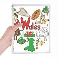 ウェールズの愛の心の英国の風景の国旗 硬質プラスチックルーズリーフノートノート