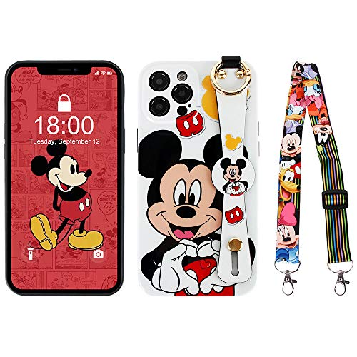 Kcorch iPhone 12 Pro Max Case, Cute Cartoon Personalized Full Protective Phone Cover with Wrist Strap and Lanyard Compatible with iPhone 12 Pro Max 6.7 Inch 2020 (Mickey Love)