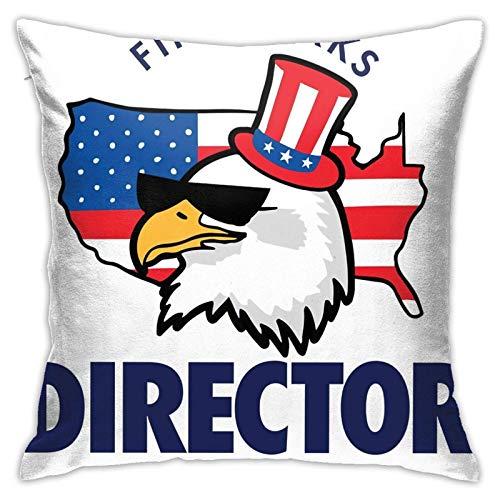 WH-CLA Throw Pillow Covers Fireworks Director American Eagle Square Square Funda De Almohada Duradera Funda De Almohada Sala De Estar Dormitorio Decorativo Funda De Almohada Regalo De CU
