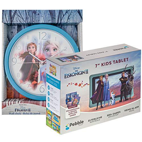 """Pebble Gear 7"""" Kids Tablet Bundle mit Die Eiskönigin 2 - Wanduhr, 7 Zoll HD Display, kindgerechte Hülle im Die Eiskönigin 2 Design, inklusive Elternkontrolle, Spielen, E-Books, Apps und vielem mehr"""