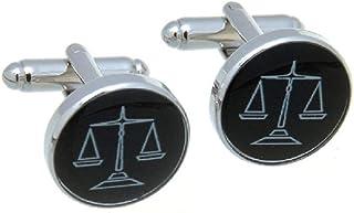 أزرار أكمام MRCUFF لأعمال محامي محامي القانون في صندوق هدايا وقطعة قماش تلميع
