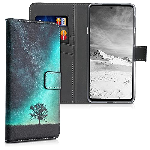 kwmobile Wallet Hülle kompatibel mit Motorola Edge 20 - Hülle mit Ständer Kartenfächer Galaxie Baum Wiese Blau Grau Schwarz