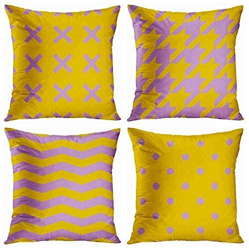 Axige888 Juego de 4 fundas de almohada abstractas con diseño de lunares, color amarillo y morado