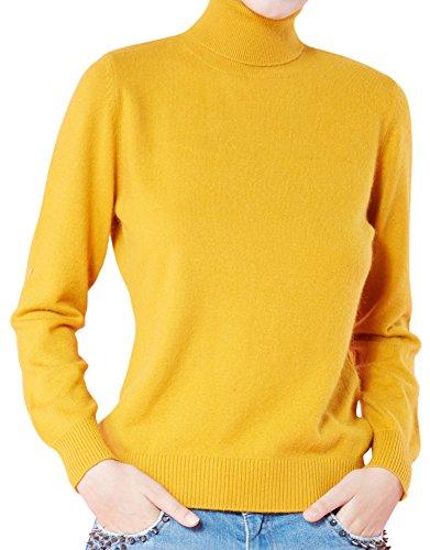LongMing Damen 100% Kaschmir Pullover for Winter Lange Ärmel Hoher Hals und Figur Schmeichelnde Casual Swaeter (S/EU Size 36/38, Orange)