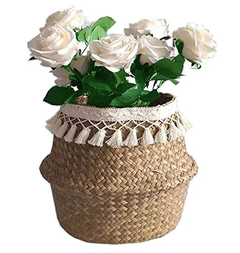 Cesta de almacenamiento de pasto marino natural de SZETOSY, con borla blanca, plegable, con asa para lavandería, juguetes o macetas, guardería de 36 x 32 cm