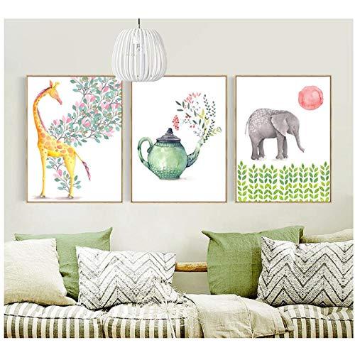 Zhaoyangeng olifant en giraf en theepotten Scandinavische kleine verse dierplanten schilderijen op canvas schilderijen- 50X70Cmx3 geen frame