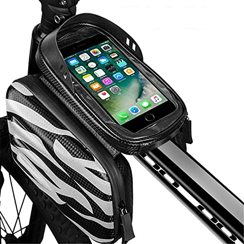 GHJGTL Bolsa De Bicicletas, Repelente De Agua Bicicleta De Viga De Carretera De Gran Capacidad para Bicicleta De Montaña Bolsa De Silla De Montar Bolsa De Teléfono Móvil,Negro